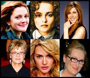 Cima: Drew Barrymore, Helena Bonham-Carter, Jennifer Aniston; baixo: Julie Walters, Kate Winslet e Meryl Streep.