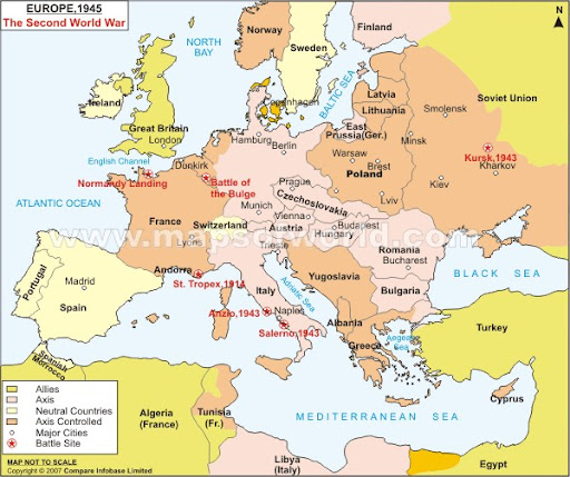 Map Of Europe In 1945
