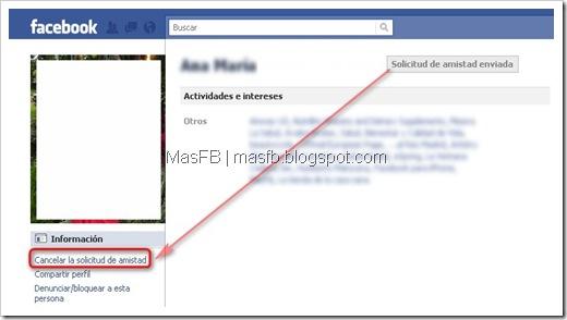 Eliminar solicitud de amistad Facebook