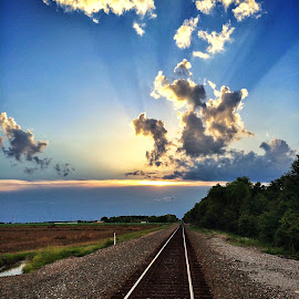 Railroad at sunset by Jenny Sallinger - Instagram & Mobile iPhone ( clouds, sky, sunset, railroad, sun )