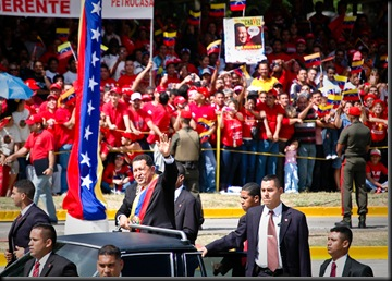 Chavez Waves to the Crowd