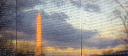 Vietnam Memorial Reflecting the Washington Monument