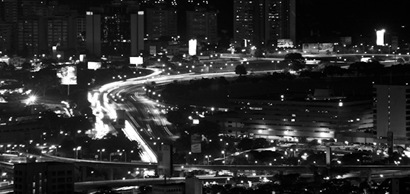 Caracas highway at night