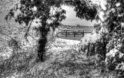 Piney Point Boat in the Snow