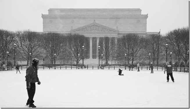 Skaters at the National Archives
