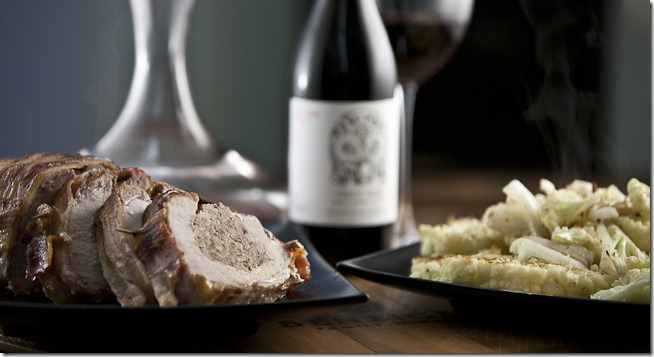 Stuffed Pork Loin Roasted Cauliflower with 2009 Caretaker Pinot Noir-2