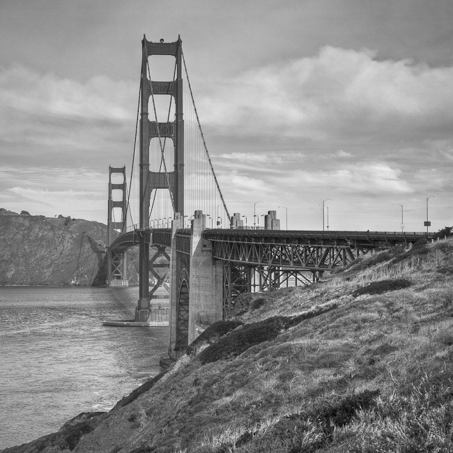 Golden Gate Bridge Black and White-3