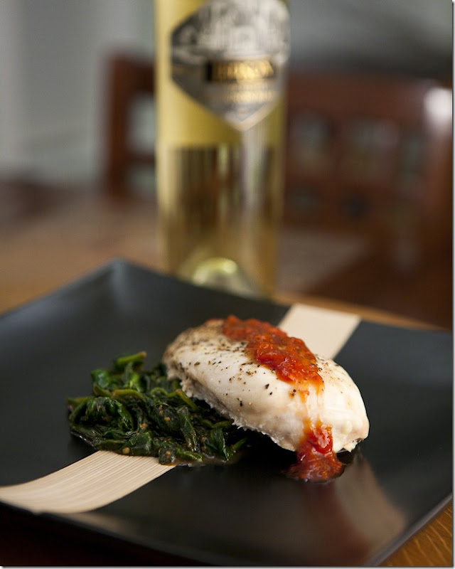 2009 Leson Napa Valley Sauvignon Blanc Paired with Chicken Breast Strawberry Mango Reduction and Garlic Spinach-5
