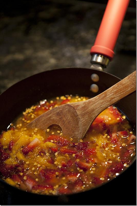 Spicy White Wine Strawberry and Mango Reduction