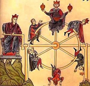 La Roue de la Fortune. Calque de miniatures de l'Hortus deliciarum de Herrade de Landsberg (XIIe s.)