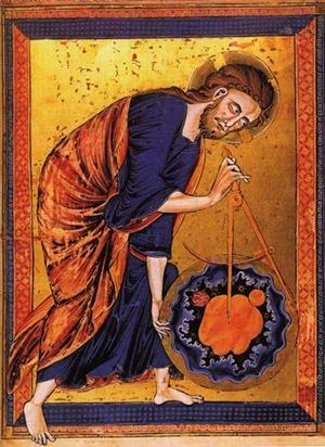 Deus medindo o mundo com o compasso, ca. 1250, Bible Moralisée - Geometria Divina