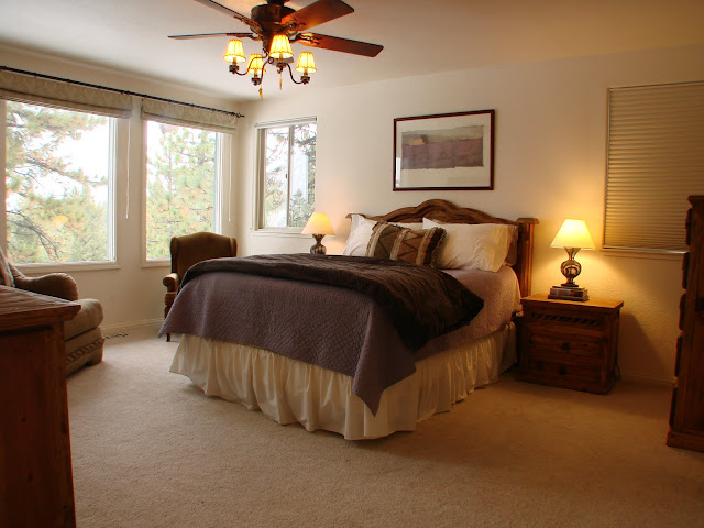 Master bedroom with views of Lake Tahoe and Heavenly ski run