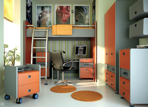 Small-teen-room-with-dark-carpet-gray-walls-and-bunk-bed-frames