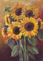 Maľba - zopár rozkvitnutých slnečníc na okrovom pozadí s tieňom vpravo dole.