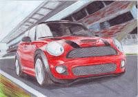 Kresba - červený Mini Cooper (auto) prechádzajúce veľkou rýchlosťou po dráhe. V pozadí je vidno tribúnu. Všetko okrem auta je rozmazané akoby sa hýbalo len pozadie a auto spolu s pozorovateľom ostalo nepohnuté.