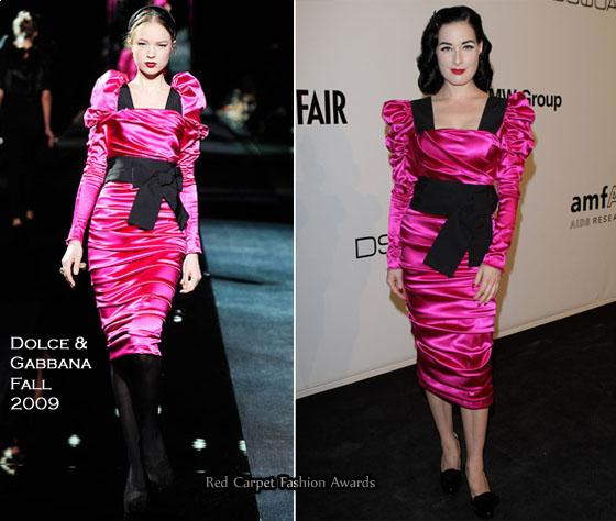 Dita Von Teese wore a Dolce & Gabbana Fall 2009 hot pink satin long sleeved ruched dress