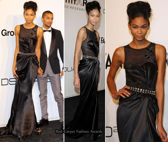 Chanel Iman's black silk gown