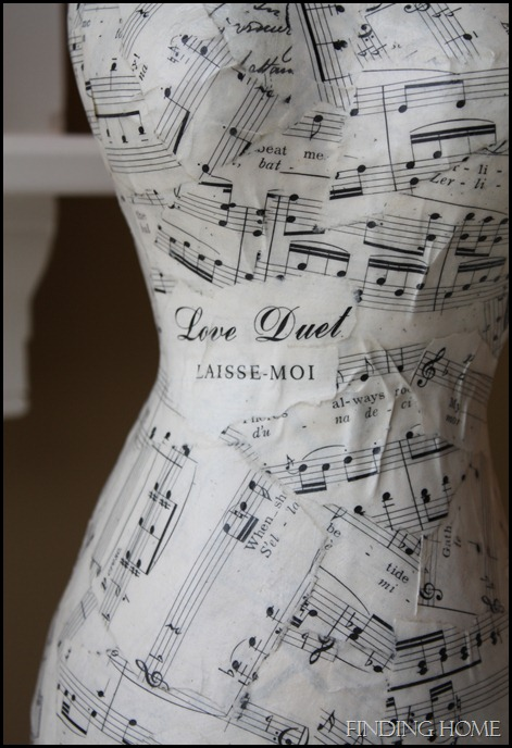 Sheet Music Dress Form