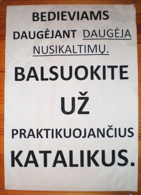 Balsuok u praktikuojanius katalikus