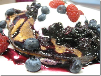 Blueberry Protein Pancakes with Fresh Blueberry Syrup