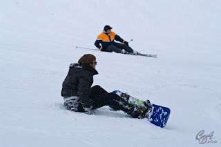 Skier and snowboarder fell