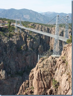 Royal Gorge Bridge 1,053 feet high.  World's highest suspension bridge, built in 1929