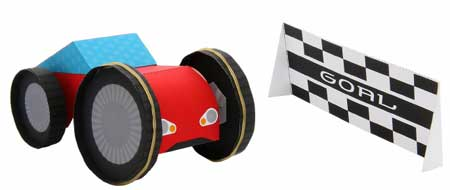 Elastic-powered Sports Car Papercraft