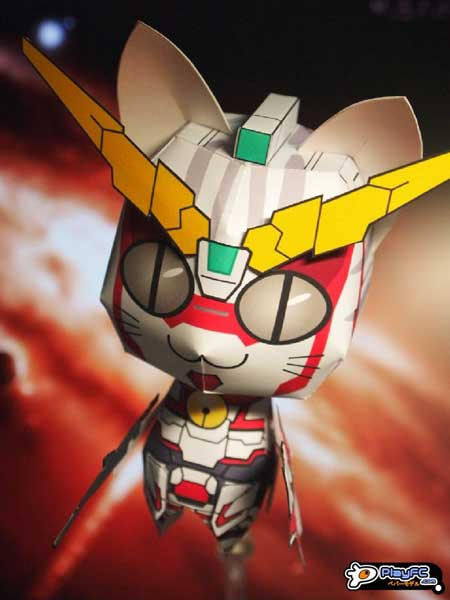 Anime Cat Unicorn Gundam Papercraft