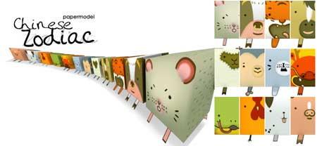 Chinese Zodiac Paper Models