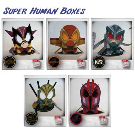 Super Human Boxes Papercraft