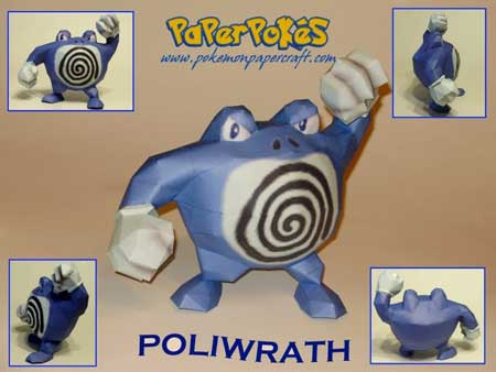 Pokemon Poliwrath Papercraft