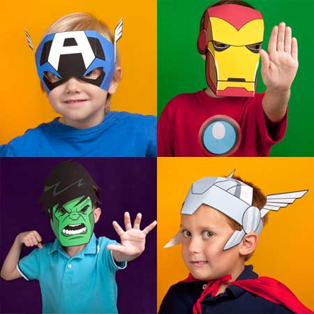 The Avengers Papercraft Masks (Marvel Kids) ~ Paperkraft.net - Free