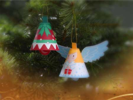 Scamp Christmas Bell Ornament Papercraft