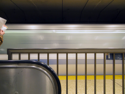 BART train in motion