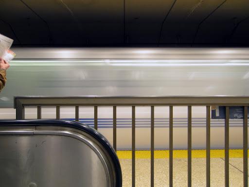 BART train in motion