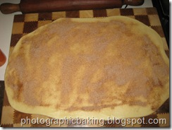 Cinnamon spread on the rolled out dough
