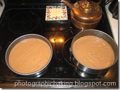 Batter split between the pans