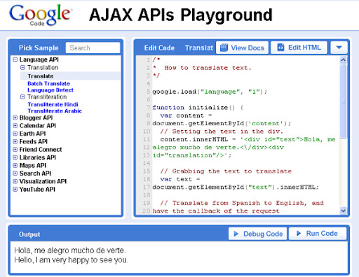 Google Code Playground - test, learn and build your codes