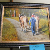 "Title: ""Day's End,"" Picture of Man Walking Behind Two Horses"