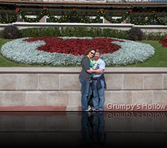 Enchanted Rose and Me in front of Hidden Mickey in Flowers