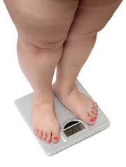 obese women weighing