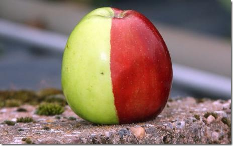 Million to one apple is half red, half green
