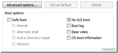 "check the ""No GUI boot"" checkbox."
