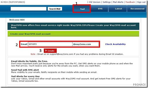 create a new way2sms email ID.