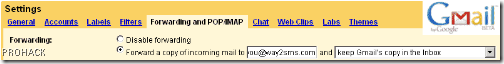 Forward Gmail Emails to way2sms