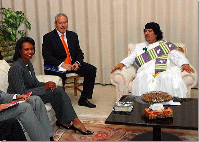GADDAFI_Encuentro-Gadafi-Rice-Tripoli-Libia