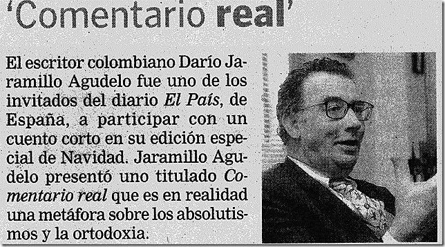 CULTURA_4_El Doctor Darío Jaramillo Agudelo haciendo alardes de republicanismo en El Pais de Madrid.
