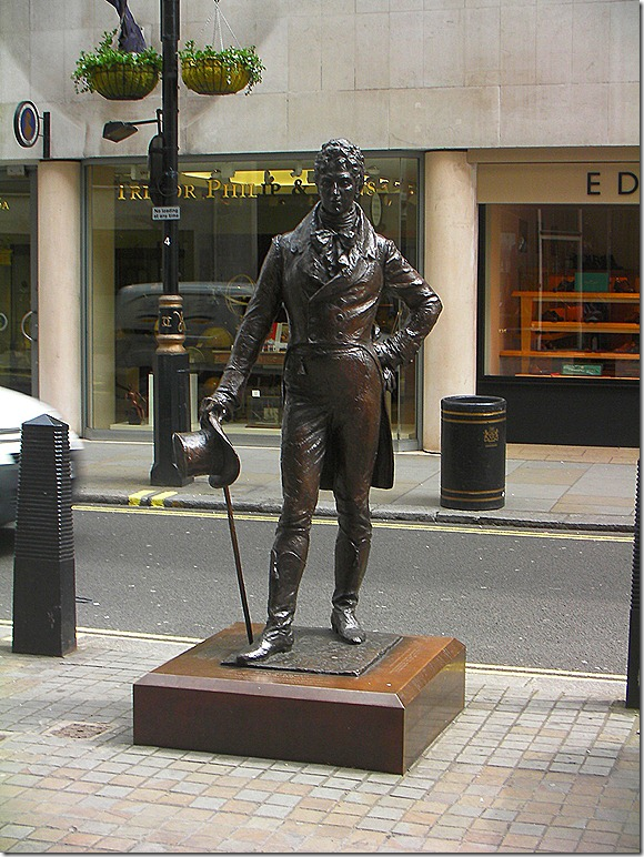 "George Bryan ""Beau"" Brummell.  English 19th-century men's style icon.  Innovator of the modern men's suit.  His statue on Jermyn Street in St. James, London."