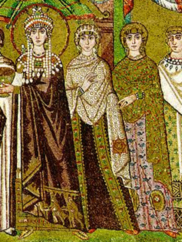 Ingrandimento del dettaglio, Teodora e il costume femmilile bizantino del V-VI sec d.C.