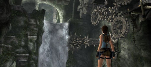 Lara takes a moment to meditate on her quest to find which lost civilisation left the tap running..
